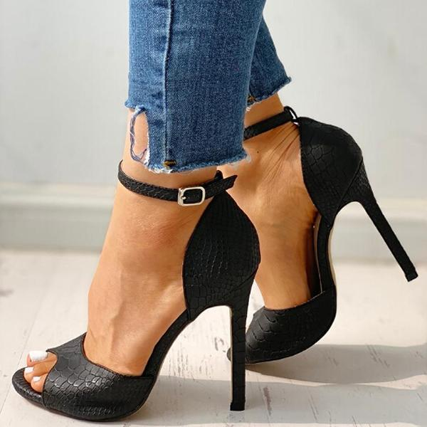 Abacde Peep Toe Faux Leather High Heels