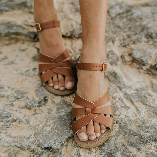 Abacde Hollow-Out Ankle Strap Flats Sandals