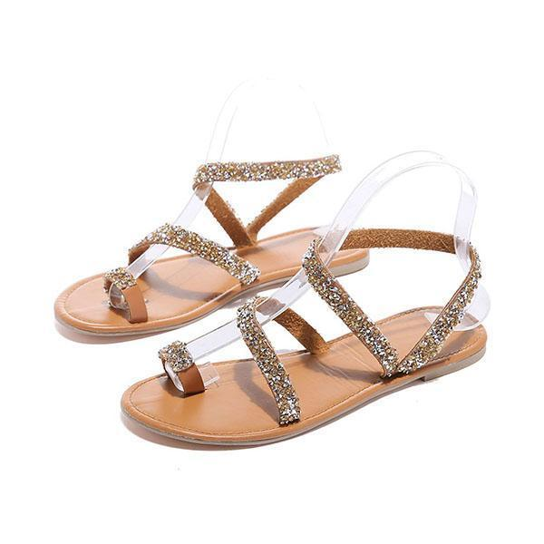 Abacde Shiny Embellished Toe Ring Flats Sandals