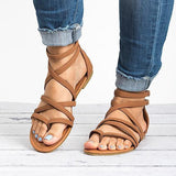 Abacde Leather Sandals Casual Zipper Adjustable Buckle Sandals