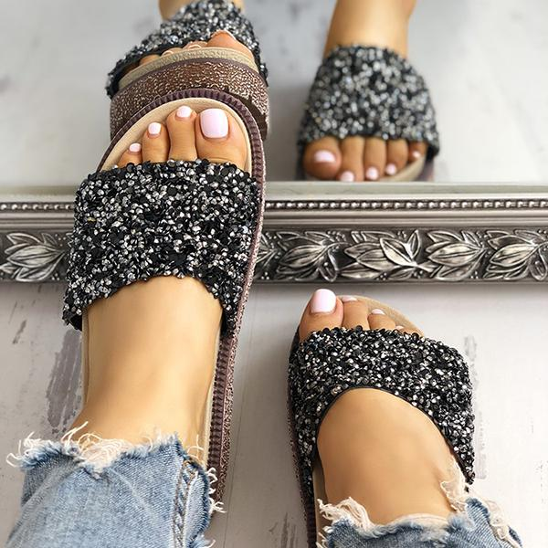 Abacde Shiny Sequins Embellished Open Toe Slippers