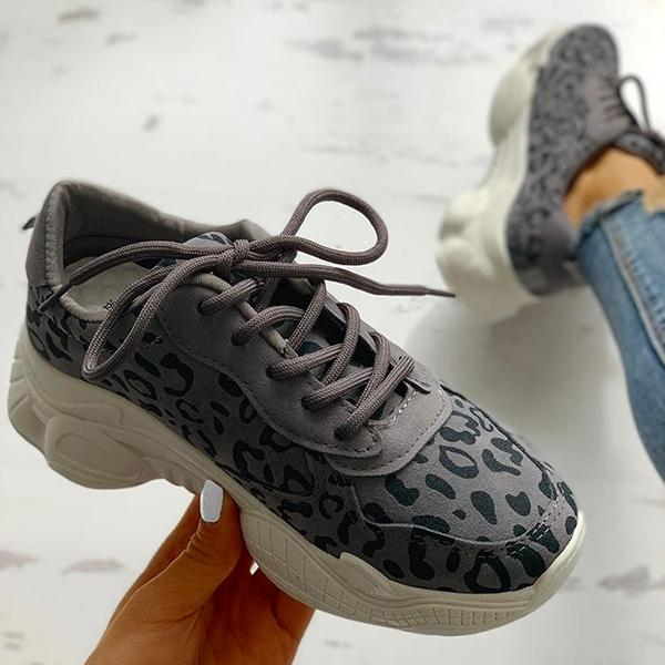 Abacde Leopard Insert Lace-Up Casual Sneakers