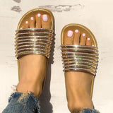 Abacde Shiny Strappy Slip-On Sandals