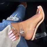 Abacde Transparent Adjustable Buckle Heels