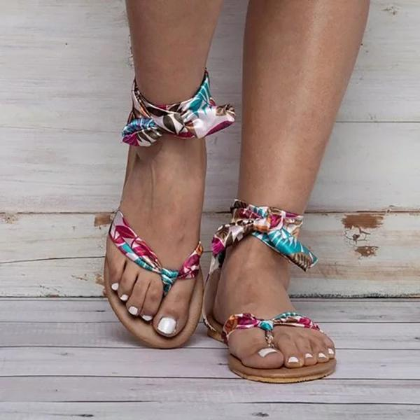 Abacde Flower Printed Band Lace-Up Sandals