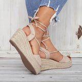 Abacde Fashion Lace Up Wedge Heels