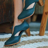 Abacde Hollow Out Faux Leather Heels