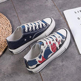Abacde Round Toe Lace-Up Canvas Sneakers
