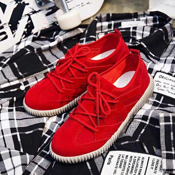 Abacde Lace-up Round Toe Flats Women Sneakers
