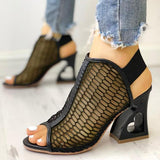 Abacde Hollow Out Heart Heeled Sandals