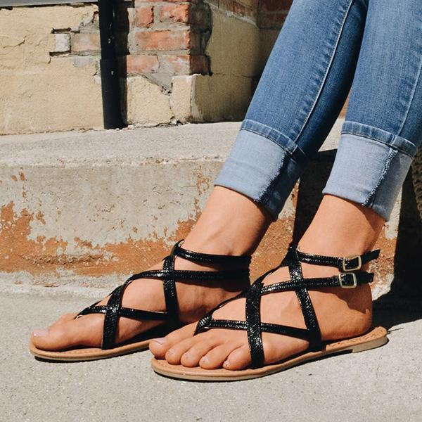 Abacde Casual Crisscross Design Flat Sandals