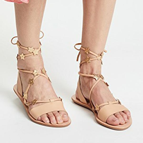 Abacde Casual Interlaced Sweet Flat Sandals