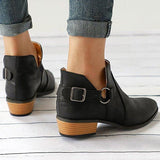 Abacde Pointed Toe Buckle Chunky Heel Short Boots