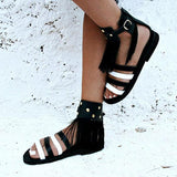 Abacde Stude Black Tassel Rock Sandals
