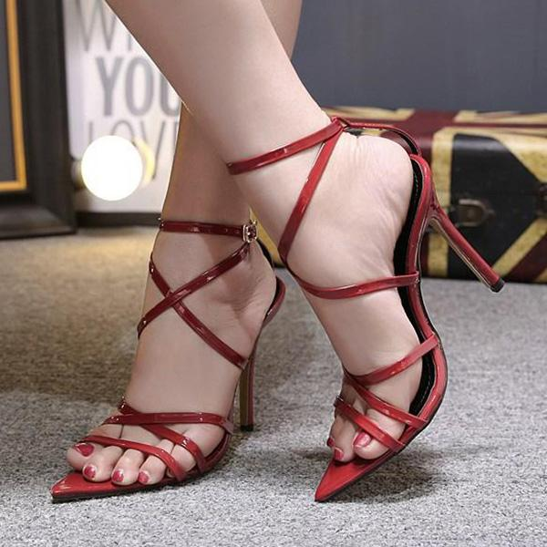 Abacde Pointed Fish Mouth Cross Strap Stiletto heels