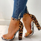 Abacde Leopard Transparent Chunky Heels