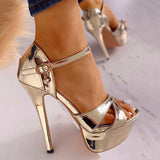 Abacde Ankle Buckled Platform Thin Heels