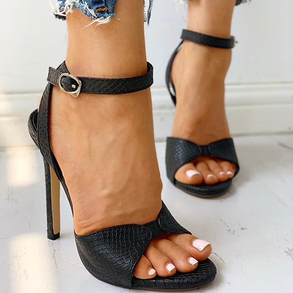 Abacde Ankle Strap Slingback Thin Heels