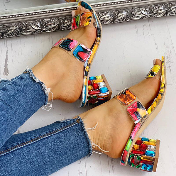 Abacde Colorful Geo Applique Chunky Heels