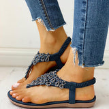 Abacde Toe Post Studded Flat Sandals
