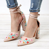 Abacde Embroidery Flower Ankle Strap High Heels