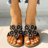 Abacde Flower Pattern Beaded Design Sandals
