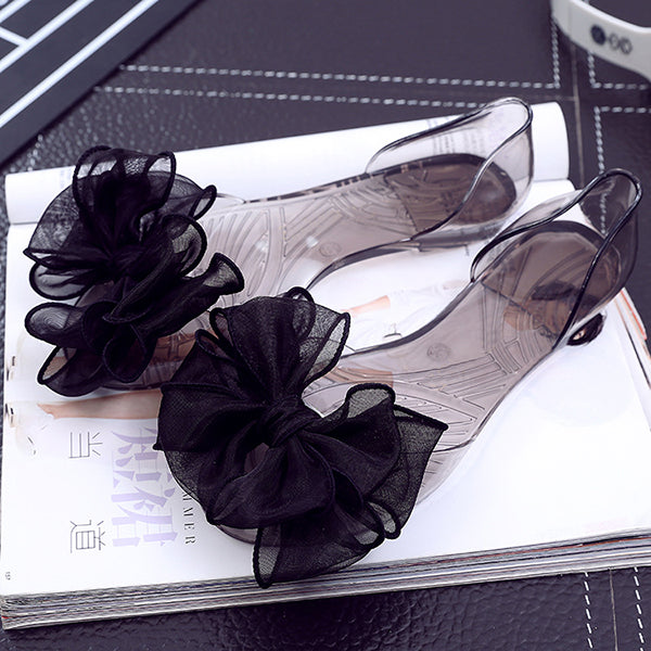 Abacde Peep Toe Flower Detail Transparent Flats