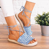 Abacde Wavy Lace Ankle Strap Sandals