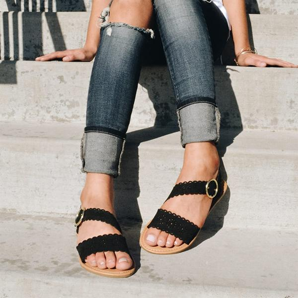 Abacde Open Toe Side Cutout Sandals