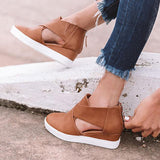 Abacde Hollow-out Wedge Heel Sandals