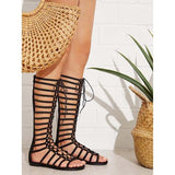 Abacde Lace-up Design Zipper Flat Sandals