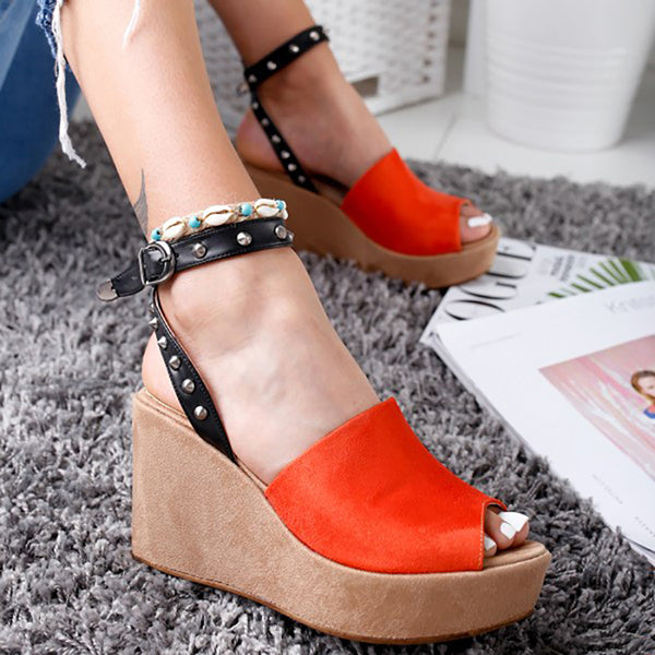 Abacde Stylish Peep Toe Wedges Heels Sandals