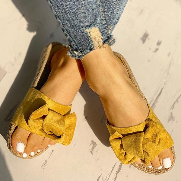 Abacde Cute Knot Espadrille Flats Slip-On Sandals