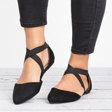 Abacde Womens Point Toe Criss-Cross Flats