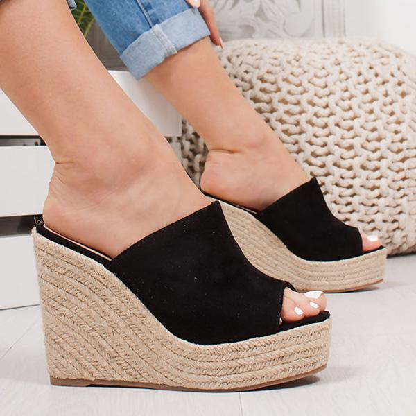 Abacde Espadrille Wedge Platform Sandals Peep Toe Slippers