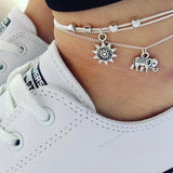 Abacde Anklet Chain Wth Elephant Sunflower Beaded