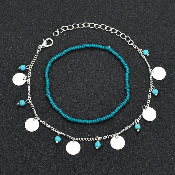 Abacde Double Layers Bead Sequins Turquoise Anklet Chain