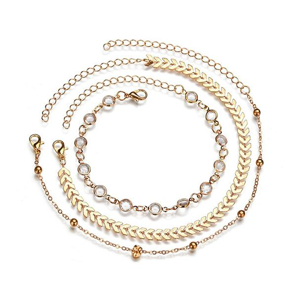 Abacde Multiple Layered Boho Chain Anklet
