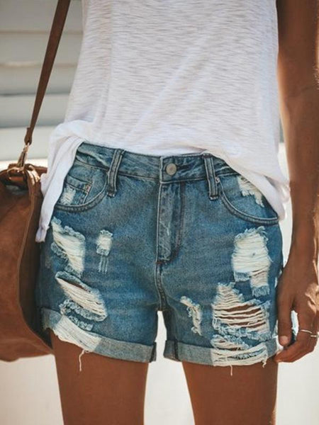 Abacde Women Shredded Sexy Denim Shorts