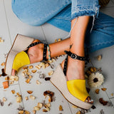 Abacde Buckle Strap Open Toe Wedges