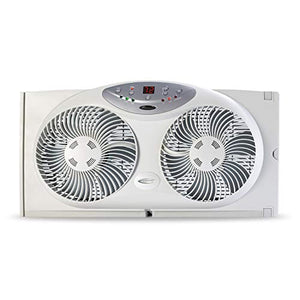 Bionaire Window Fan with Twin 8.5-Inch Reversible Airflow Blades and Remote Control, White BW2300-N 2 Blades