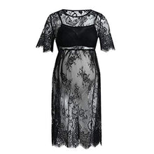 Load image into Gallery viewer, Yihaojia Maternity Clothes Maternity Clothes Short Sleeve Women Sexy Lace Dress Pregnancy See-Through Fancy Pregnancy Photography (S, Black) Small