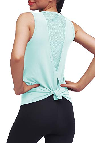 Mippo Summer Workout Tops for Women Summer Open Back Yoga Shirts Cute Fitness Workout Tank Stretchy Sports Gym Winter Clothes Tie Back Running Racerback Tank Tops with Mesh Mint Green XS M704-MintGreen-XS X-Small