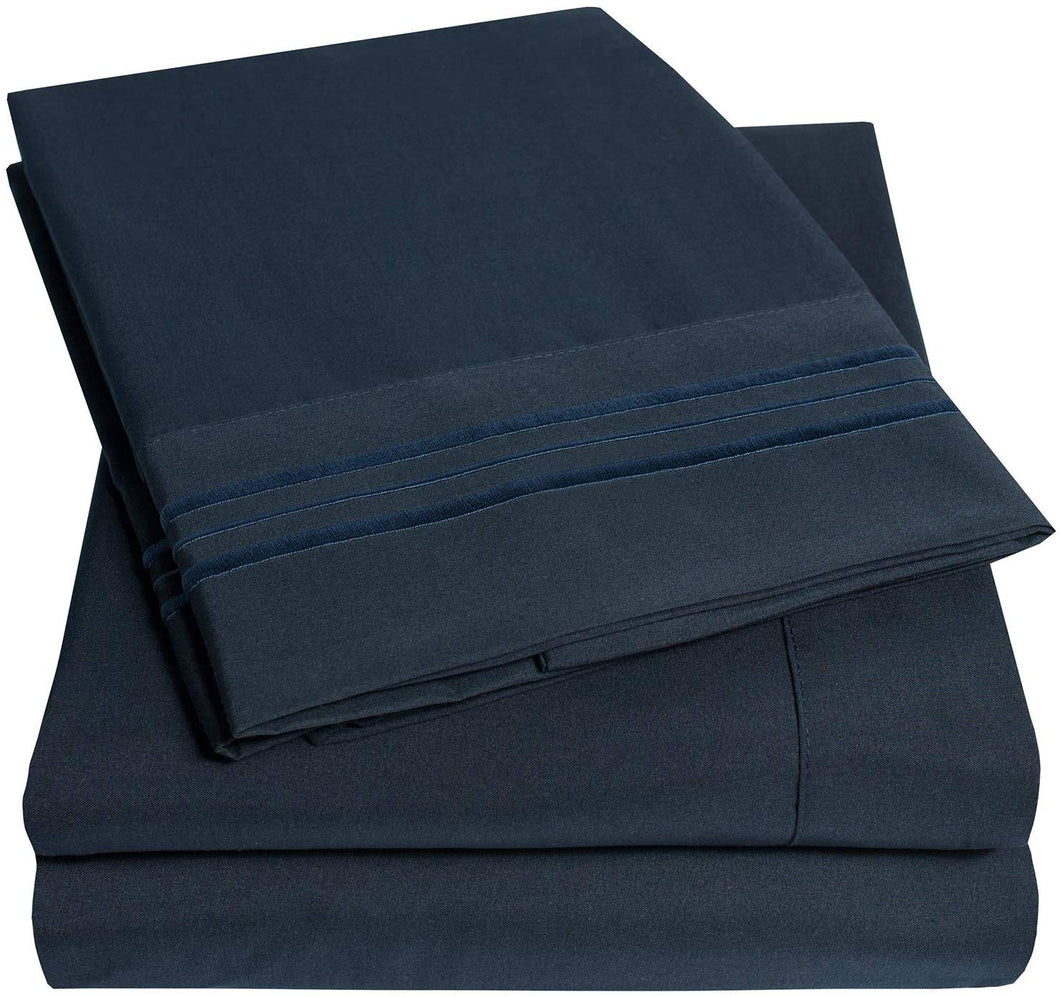 1500 Supreme Collection Extra Soft Split King Sheets Set, Navy Blue - Luxury Bed Sheets Set with Deep Pocket Wrinkle Free Hypoallergenic Bedding, Over 40 Colors, Split King Size, Navy