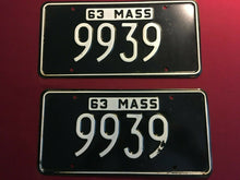 "Load image into Gallery viewer, RARE ""NEW"" 1963 Massachusetts Embossed License Plate Set Low Digit  #9939"