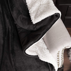 Bedsure Sherpa Fleece Blanket Twin Size Dark Grey Plush Blanket Fuzzy Soft Blanket Microfiber