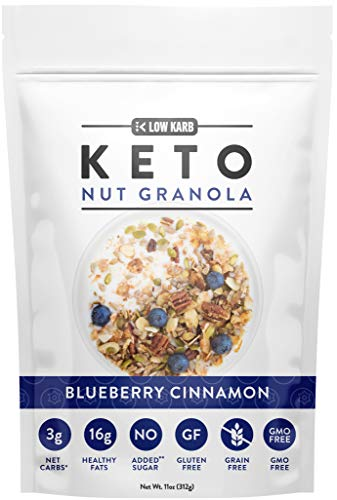 Low Karb - Keto Blueberry Nut Granola Healthy Breakfast Cereal - Low Carb Snacks & Food - 3g Net Carbs - Almonds, Pecans, Coconut and more (11 oz) (1 Count)