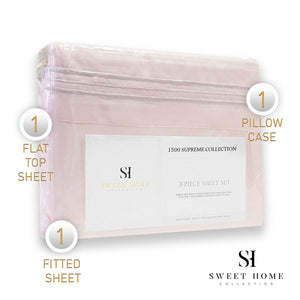 1500 Supreme Collection Extra Soft Twin XL Sheets Set, Pale Pink - Luxury Bed Sheets Set with Deep Pocket Wrinkle Free Hypoallergenic Bedding, Over 40 Colors, Twin XL Size, Pale Pink