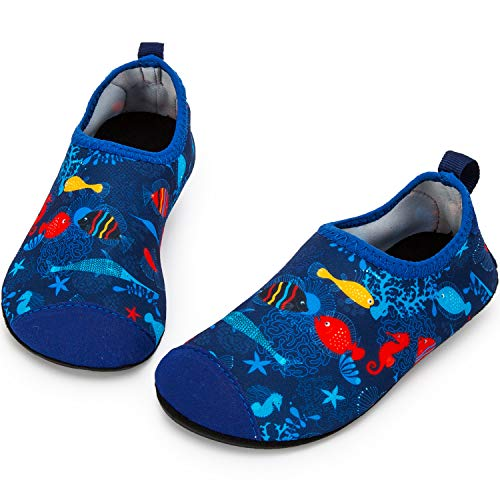 Crova Kids Water Shoes Barefoot Quick-Dry Aqua Socks for Beach Swim Surf Yoga Exercise-Blue Ocean 5.5-6 Toddler