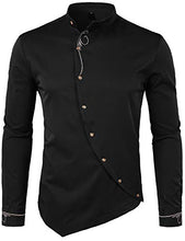 Load image into Gallery viewer, WHATLEES Mens Hipster Irregular Hem Slim Fit Long Sleeve Banded Collar Dress Shirts with Embroidery T21 Black X Large T21-Black-XL X-Large